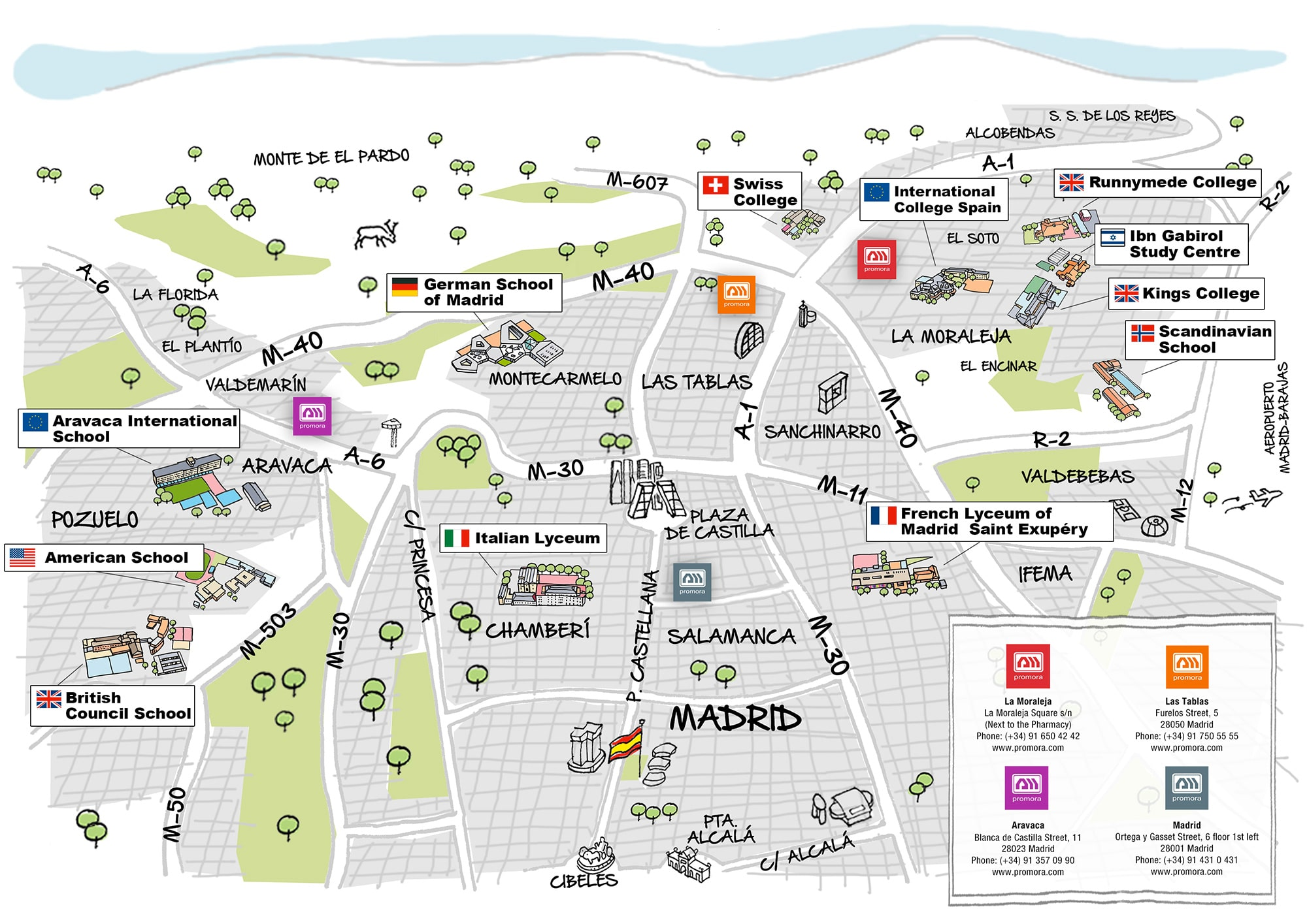 Map international Schools in Madrid
