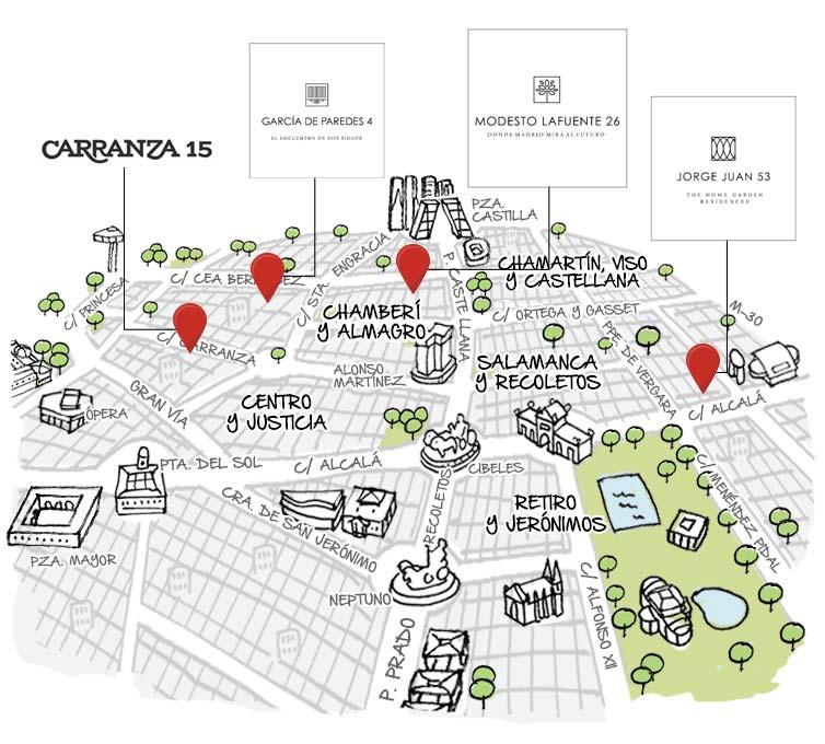 Mapa pisos obra nueva Madrid centro