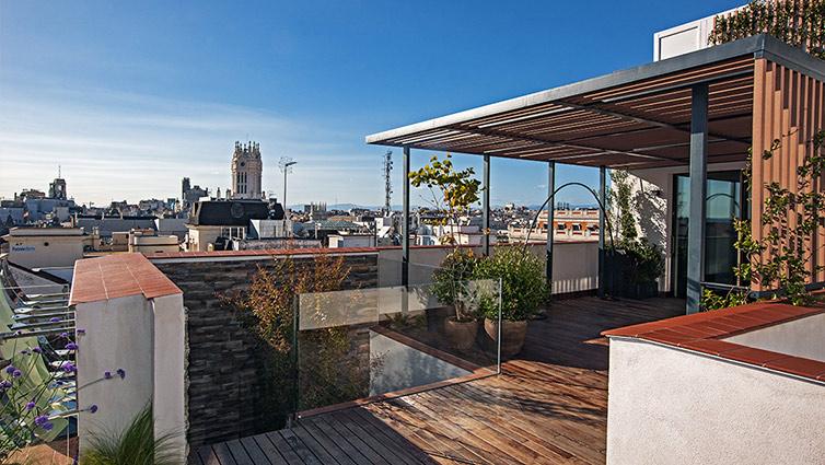 terraza del ático más caro de Madrid