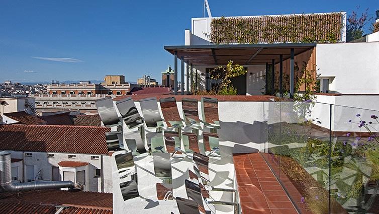 Detalle de las terrazas del ático más caro de Madrid